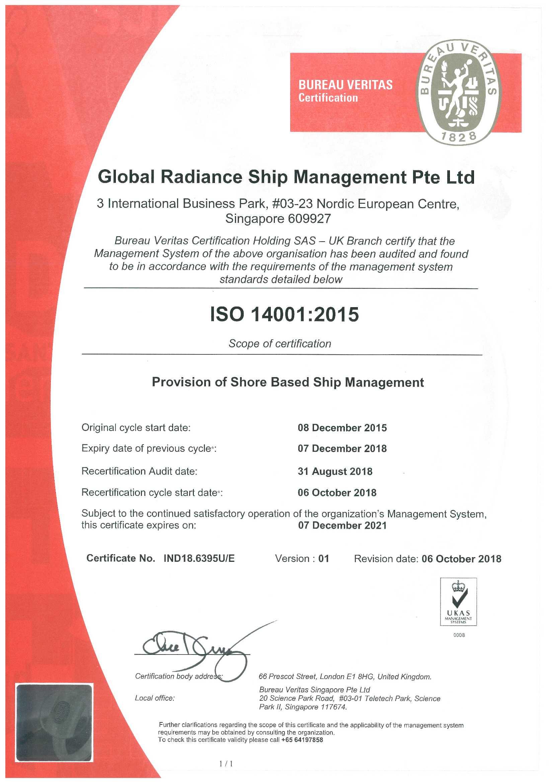 Global Radiance - ISO 14001-Cert