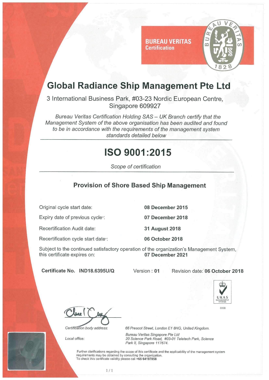 Global Radiance - ISO 9001- Cert